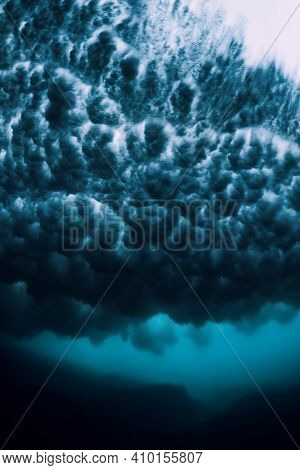 Wave With Foam Underwater. Transparent Ocean In Underwater