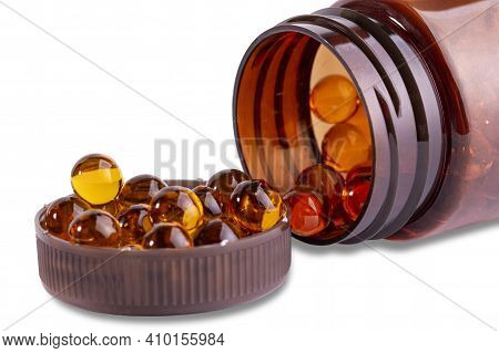 Krill Oil Or Fish Oil Capsules In A Bottle, Vitamin D Omega-3, Element Of A Useful Product