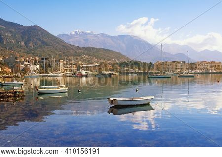 Beautiful Winter Mediterranean Landscape. Montenegro, Adriatic Sea,  View Of Bay Of Kotor And Tivat