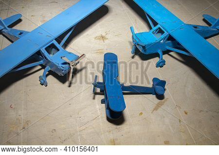 Miniature Aircraft Models Made Of Plywood And Wood, Aeromodelling As A Hobby.