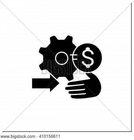 Technology Commercialization Assistance Glyph Icon. Helps Solve Technological Needs And Commercializ