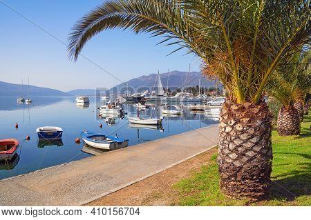 Beautiful Winter Mediterranean Landscape With Fishing Boats On Water. Montenegro, Bay Of Kotor, Emba