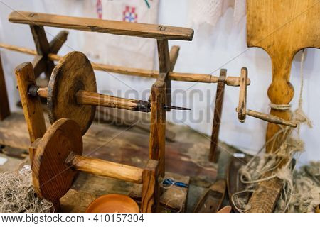 Ancient Spinning Wheel From Wood In Village House
