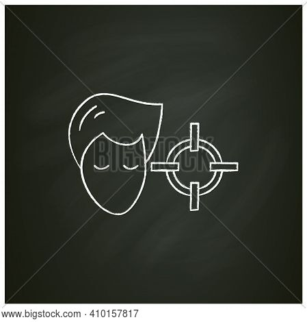 Attention Concentration Chalk Icon. Person Head With Target. Concept Of Concentration Exercise, Prod