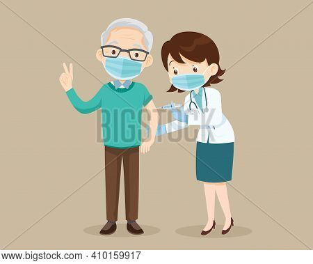 Doctor Injection Vaccine For Elderly Man, Doctor In A Clinic Giving A Coronavirus Vaccine To Old Man