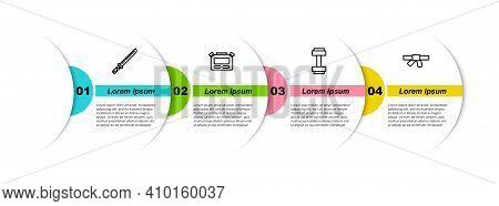 Set Line Japanese Katana, Stopwatch, Dumbbell And Black Karate Belt. Business Infographic Template.