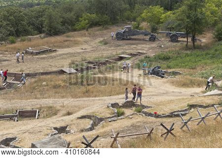 Sevastopol, Crimea, Russia - July 28, 2020: Exposition Of Defensive Fortifications And Captured Arti