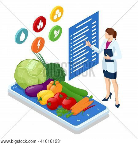 Isometric Healthy Food And Diet. Doctors Consultation For An Overweight Patient. Health Risk, Obesit