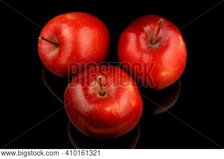 Variety Of Red Apples Red Chief On A Black Background