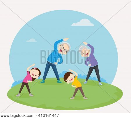Grandparents With Grandchildren Exercising Together For Good Health ,grandfather, Grandmother,daught