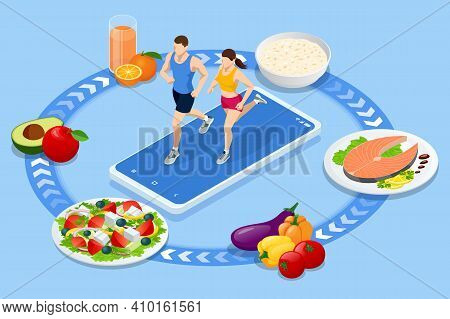 Isometric Fitness And Diet Planning. Healthy Eating, Personal Diet Or Nutrition Plan From Dieting Ex