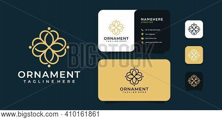 Ornament Beauty Luxury Flower Logo And Business Card Design Vector Illustration. Logo Can Be Used Fo