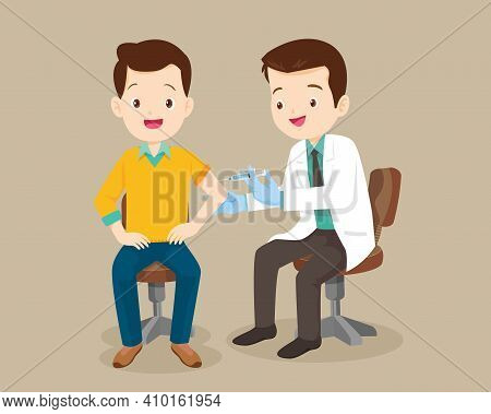 Doctor Injection Vaccine For Man, Doctor In A Clinic Giving A Coronavirus Vaccine To Man.doctor Succ