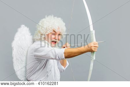 Valentines Day. Smiling Man In Angel Costume. Cupid With Bow And Arrows. God Of Love. Amour.