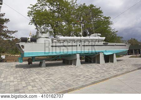 Sevastopol, Crimea, Russia - July 28, 2020: Torpedo Boat 123-k Komsomolets In The Memorial Complex S