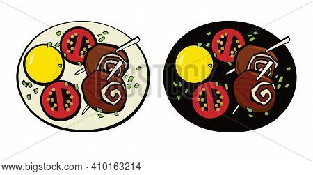 Meatloaf On A Wooden Skewer, Potato And Tomates. Pop Art. Retro Style. Illustration