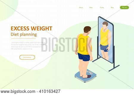 Isometric Healthy Food And Diet Planning. Fat Man Looks With A Mirror And Introduces Herself Slender