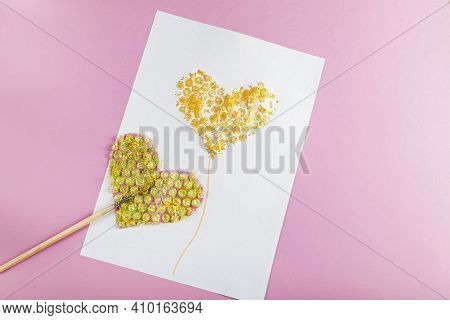 Diy And Kids Creativity. Drawing Greeting Card With Heart Using Bubble Wrap. Children Craft For Vale