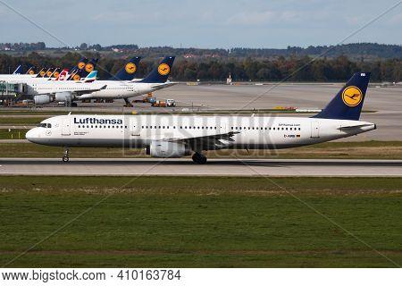 Munich, Germany - October 4, 2017: Lufthansa Airbus A321 D-airb Passenger Plane Departure At Munich