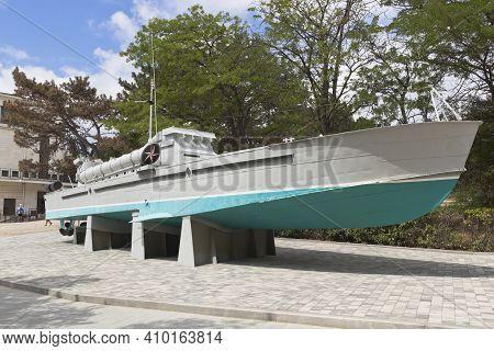 Sevastopol, Crimea, Russia - July 28, 2020: Torpedo Boat 123-k Komsomolets On Sapun Mountain In The