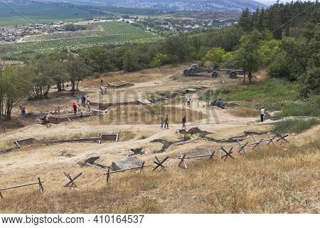 Sevastopol, Crimea, Russia - July 28, 2020: Open Exhibition Of Defensive Fortifications And Captured