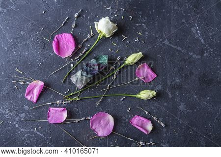 Magic Vintage Still Life With Crystals And Rose Flowers. Meditation Reiki. Ritual For Love And Chakr