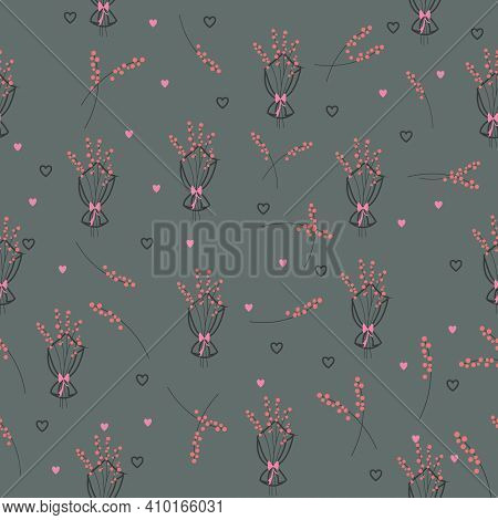 Pink Flower Bouquets And Flower Stems Falling Seamless Repeating Pattern Pattern With Sage Green Bac