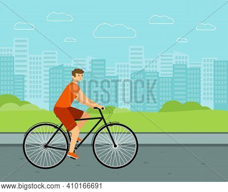 Man City Bicycle. White Rider On Bike. Flat Vector Character
