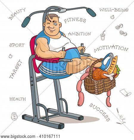 Cartoon Vector Illustration. Cartoon Funny Man In Fitness Class With Heavy Food. The Concept Of Moti