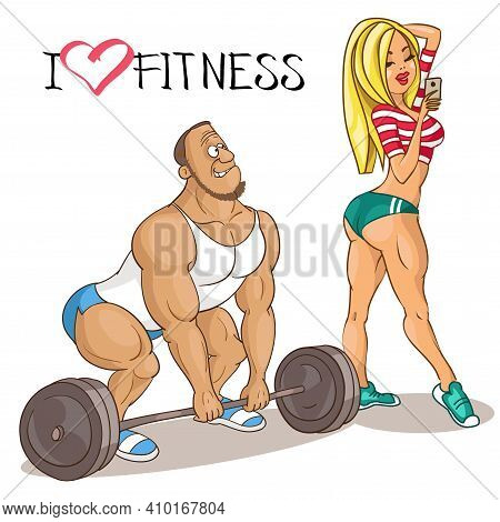 Vector Caricature. Cartoon Funny Illustration. A Beautiful Woman Athlete Distracts A Man Who Is Enga