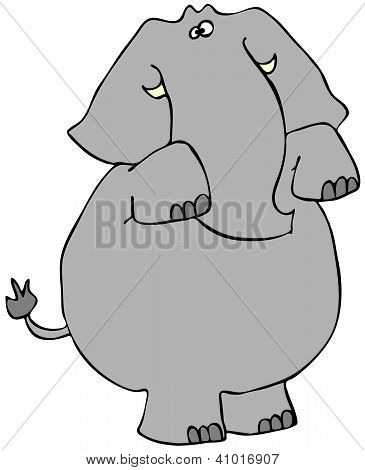This illustration depicts an elephant standing on its hind legs and begging. poster