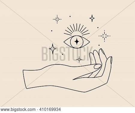 Mystical Logo With Magic Symbol Of Hand, Eye And Stars In Simple Line Style. Vector Illustration For