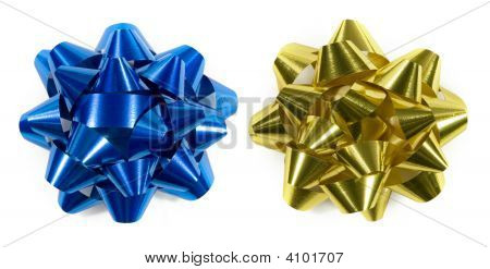 Blue And Gold Gift Bows