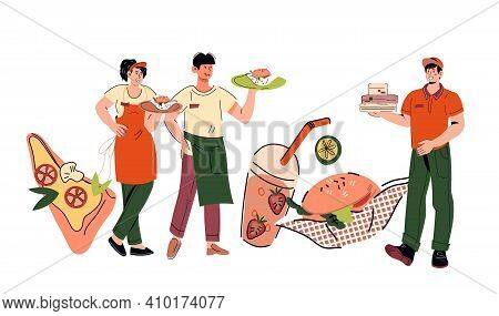 Take Away Service Staff Including Waiter And Waitress With Delivery Man, Cartoon Vector Illustration