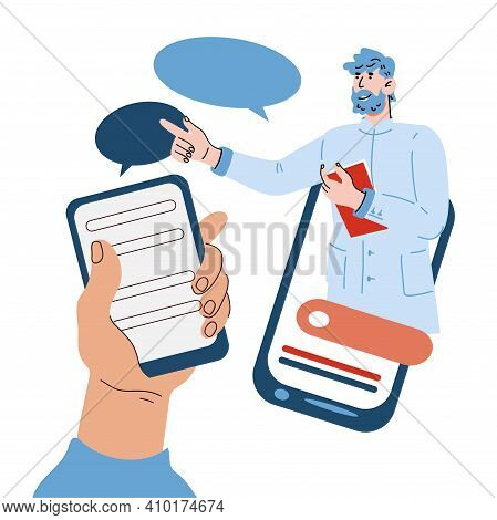 Online Medical Consultation Concept With Doctor On Mobile Phone Screen. Online Medical Services App