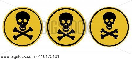 Danger Attention Sign. Warning. Human Skull And Bones On A Round Background. Illustration.