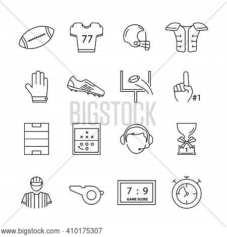 American Football Icon Set Isolated On White Background From American Football Collection. American