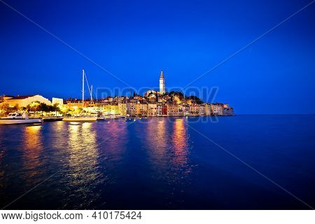Town Of Rovinj Evening Blue Hour View, Istria Region Of Croatia