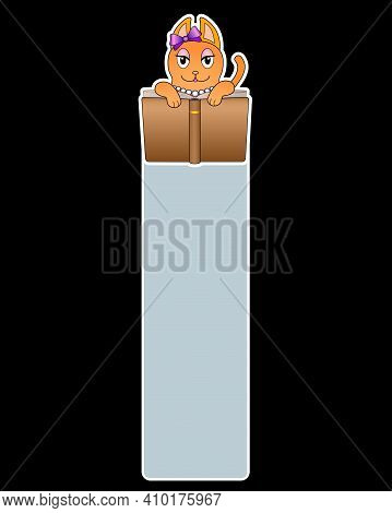 Bookmark For A Book With A Ginger Cute Cat Reading A Book - Vector Full Color Blank - Template. Temp