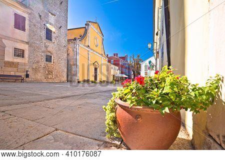 Motovun. Main Stone Square And Church In Historic Town Of Motovun, Istria Region Of Croatia