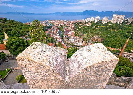 City Of Rijeka Panoramic View From Trsat Gradina Fortress, Kvarner Bay Region Of Croatia