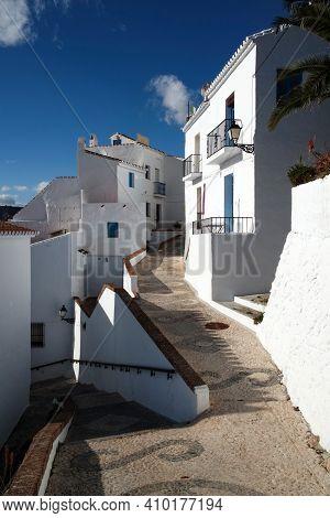 Frigiliana Spain. Traditional White Historic Spanish Village At The Costa Del Sol.  Moorish Quarter