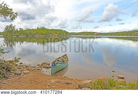 Canoe Loaded And Ready To Go On Seagull Lake In The Boundary Waters In Minnesota