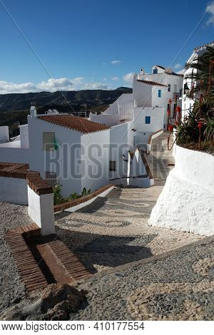 Frigiliana Village Spain. Traditional White Historic Spanish Town At The Costa Del Sol. High Angle V