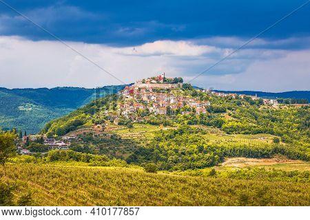 Historic Town Of Motovun On Green Hill View, Istria Region Of Croatia