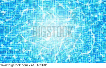 Swimming Pool Water Background With Caustic Ripple And Sunlight Glare Effect. Aquatic Surface With W
