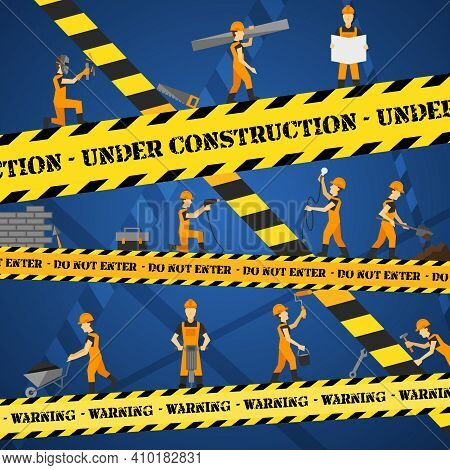 Under Construction Poster With Workmen And Yellow Restriction Line Vector Illustration
