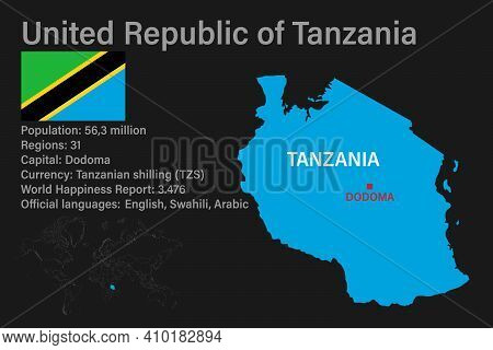 Highly Detailed Tanzania Map With Flag, Capital And Small Map Of The World