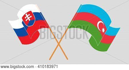 Crossed And Waving Flags Of Azerbaijan And Slovakia. Vector Illustration