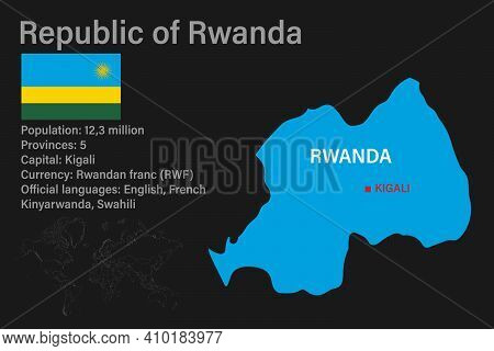 Highly Detailed Rwanda Map With Flag, Capital And Small Map Of The World